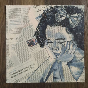 ink newsprint portrait of child